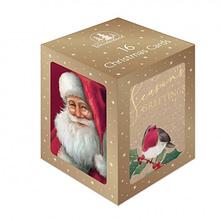 CHRISTMAS CARDS 16 MINI CUBE TARTAN SANTA
