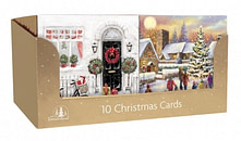 CHRISTMAS CARDS 10 SQUARE TRAD DOOR