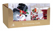CHRISTMAS CARDS 10 SQUARE TRAD SNOWMAN